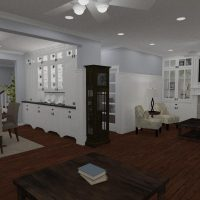 Large dining room with custom shelving and molding., large fireplace great lighting and hardwood floors.