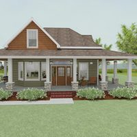 Cottage-style home with wrap-around porch and large bay window.