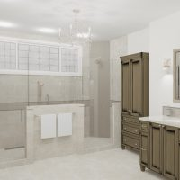 Master bathroom design with walk-in glass shower.