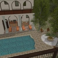 Mediterranean pool with large patio and archways.