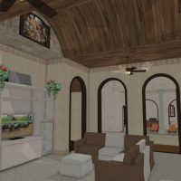 Large, Mediterranean living room custom archways and a wood ceiling.