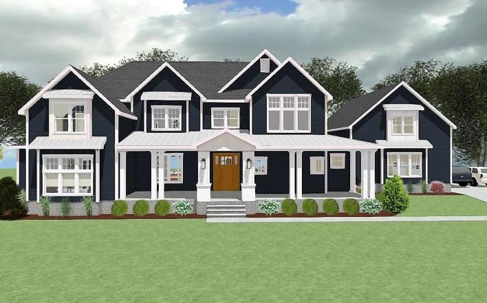 Fusion of modern and traditional home design, blue siding with white trim, large front porch and gable roof lines.