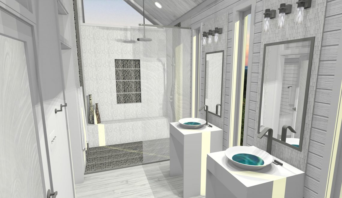 Master bath with walk-in glass shower, double vanity and sloped ceiling.