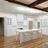 Bright kitchen design with custom ceiling and exposed beams, hardwood floors and white cabinets.