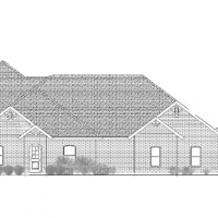 Front elevation line drawing of a large, one-story home with multiple gable roofs.