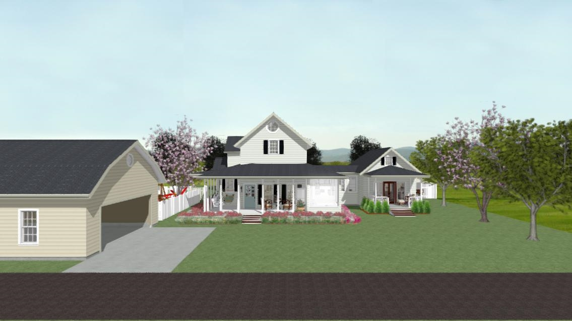 Residential home design with large wrap-around front porch, white siding and a gable roof.