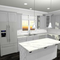 L-shaped kitchen with white walls, grey cabinets and a marble island.