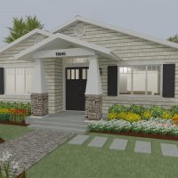 Craftsman-style home design with tan siding and large front entry.