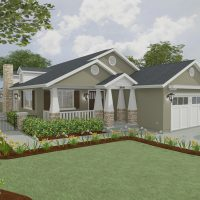 Crafstman-style home design with gable front porch and large white pillars.