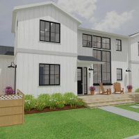 Large two-story home with white siding and black window trim. Farmhouse-style accessories and a large front patio.