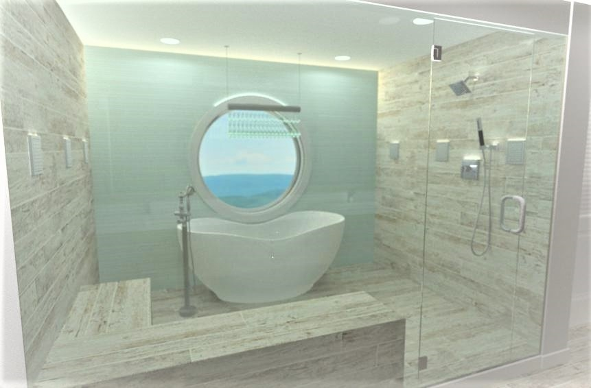 This bathroom design features a walk-in steam shower with a sauna, standalone tub, bench seat and a large round window.