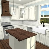 L-shaped cottage-style kitchen with custom cabinetry and a wooden island.