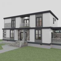 Two-story home design with large windows, white siding and custom brick work.