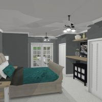 Primary bedroom with gray walls, blue accents and custom shelving.