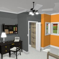 Bedroom with walk-in closet, work desk and an orange accent wall.