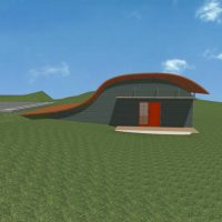 Residential home design with curved roof plane and a red front door.