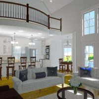 Interior design showcasing a two story ceiling, loft and large living area connected to the kitchen.