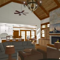 Rustic interior design with vaulted ceilings, large fireplace and open living.