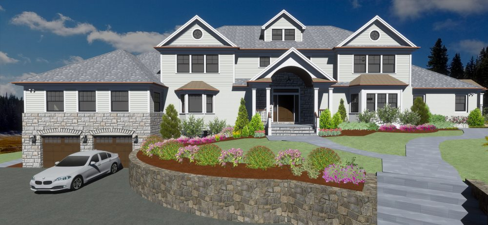 Residential home design with dormers across the front and a covered entry.