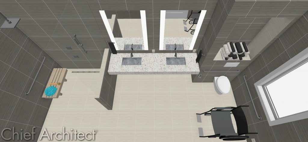 Accessible bathroom design with wheelchair knee clearance under the sink.