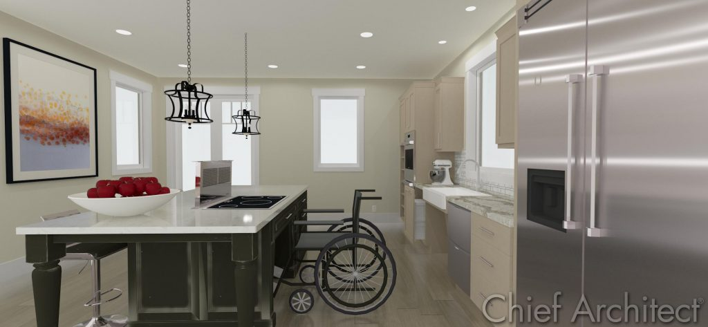 Accessible kitchen design with knee clearance and a wide isle for a wheelchair.