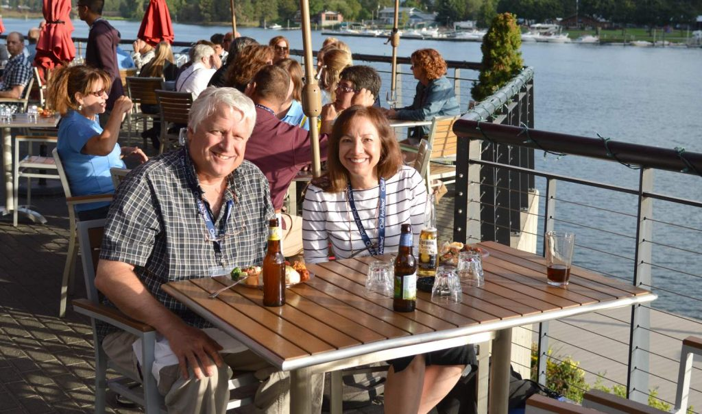 Chief Architect customers and staff enjoying a beautiful evening reception next to the Spokane River.