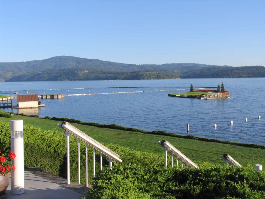 Coeur D Alene resort golf course and floating green.
