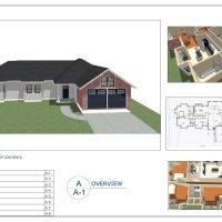 construction document layout showing renderings, plan and dollhouse view