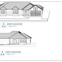 construction document layout showing north and right elevations