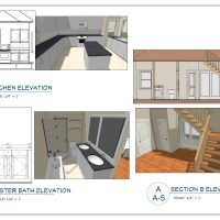 construction document layout showing kitchen rendering and elevation view