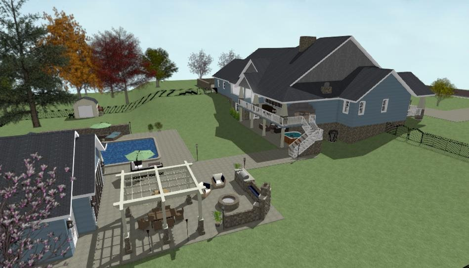 One story home design with walkout basement, covered deck, pool and pool house.