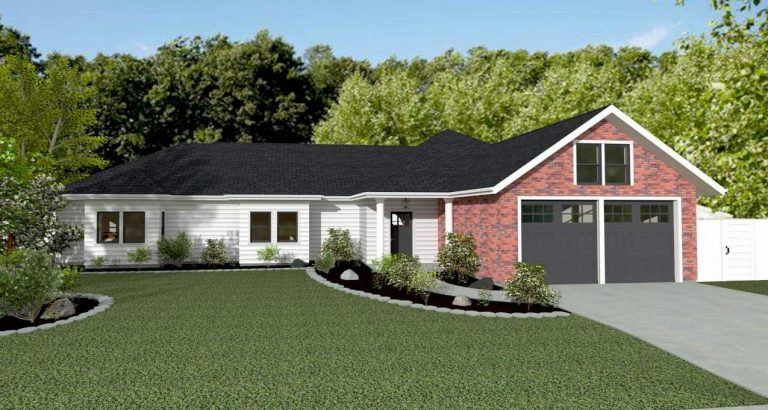 TSA House rendering with brick fascia and concrete edging along curved front pathway