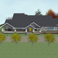 Home design with large front porch, stone and lap siding, on a treed and sloped lot.