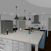 Kitchen design with large island, white cabinets, and stainless steel appliances.