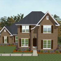 Traditional home design with brick siding and rustic elements.