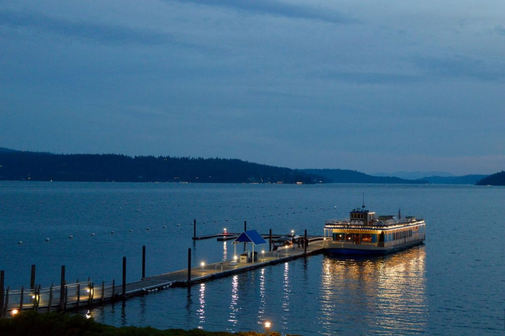 Night scene of the Lake Coeur d'Alene cruise boat during the Chief Architect training event.