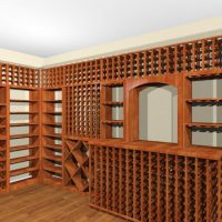Built in wine rack spanning two walls