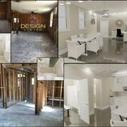 A before and after shot of a dining room