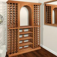 standalone wine rack with hanging candles and mirror