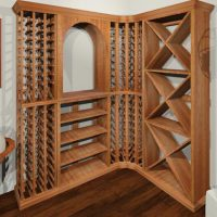 Corner wine rack featuring an arch