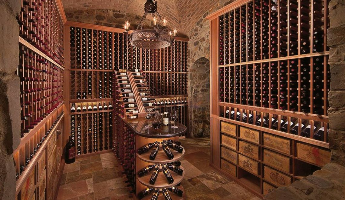 Actual image of a wine cellar filled with wine