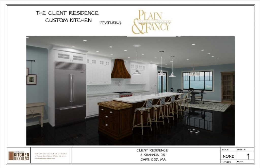 Layout page including a rendering of an open kitchen with an eat at island, white cabinets and hardwood floors.