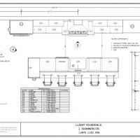 Layout page of a kitchen floor plan including notes, dimensions, and a cabinet side elevation.