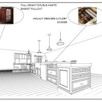 Layout page of a kitchen design highlighting the full height double waste basket pullout and walnut drawer cutlery divider.