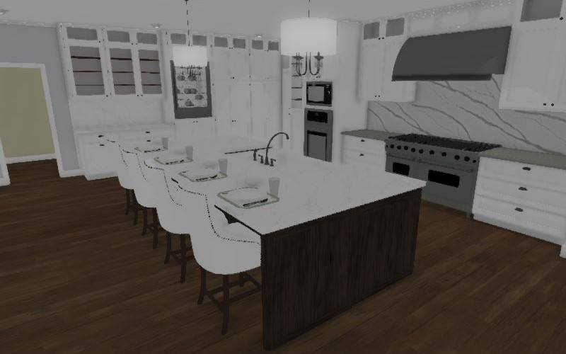 Interior rendering of a contemporary kitchen with a waterfall island and white cabinetry.