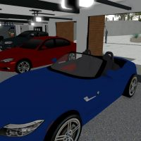 A 3 car garage featuring a blue, red, and black BMW