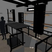 Walk-in closet, stairwell to primary bath