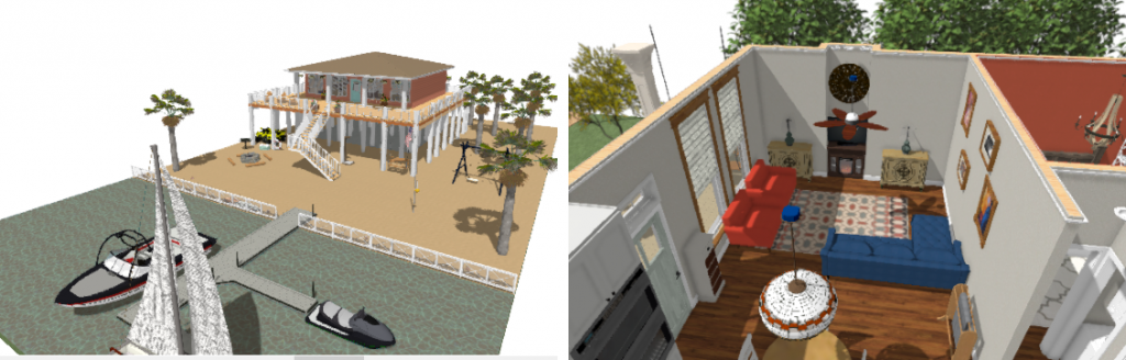 Exterior rendering of a house built on piers. Interior living room overview rendering with a L-shaped couch.