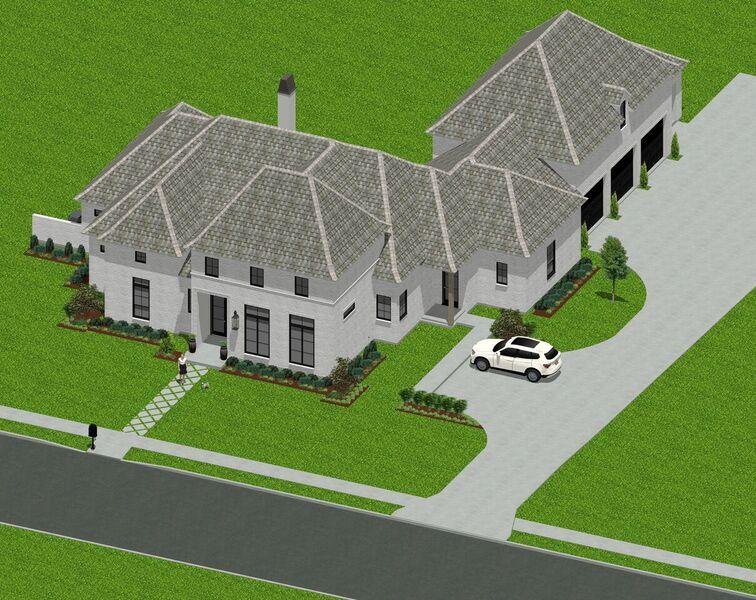 Custom home with a three car garage