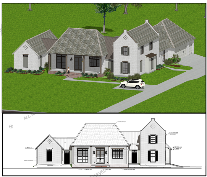 Elvation view and render of a custom home design